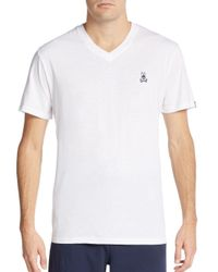 Psycho Bunny - White Heathered V-neck Lounge Tee for Men - Lyst