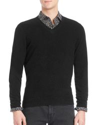 Saks Fifth Avenue - Black Cashmere V-neck Sweater for Men - Lyst