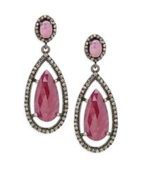 Bavna - Metallic Champagne Diamond, Ruby & Sterling Silver Pave Earrings - Lyst