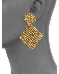 Kenneth Jay Lane - Metallic Goldtone Bead Diamond Shape Earrings - Lyst