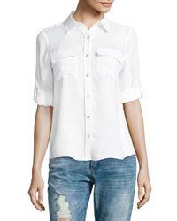 Calvin Klein - White Linen Roll Sleeve Blouse - Lyst