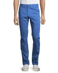 Bugatchi - Blue Solid Cotton-blend Pants for Men - Lyst