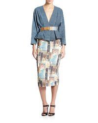 Donna Karan - Blue Frayed-hem Belted Jacket - Lyst