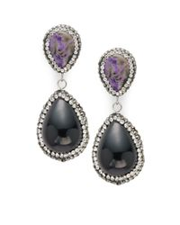 Kevia - Black Crystal Studded Drop Earrings - Lyst