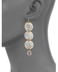 Panacea - White Beaded Drop Earrings - Lyst
