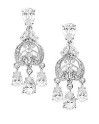 Adriana Orsini - Metallic Filigree Crystal Teardrop Chandelier Earrings/silver - Lyst