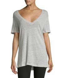 Monrow - Gray Short Sleeve Linen Tee - Lyst