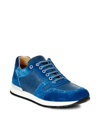 Bugatchi - Blue Denim-trimmed Tie-up Suede Sneaker - Lyst
