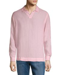 Orlebar Brown - Pink Long-sleeve Linen Polo for Men - Lyst