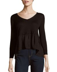French Connection | Black Solid Rippling Hem Top | Lyst
