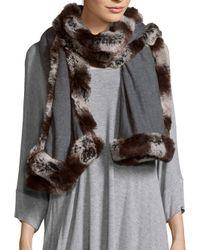 "Badgley Mischka - Gray Solid Faux Fur-trimmed Scarf - 80"" X 24"" - Lyst"