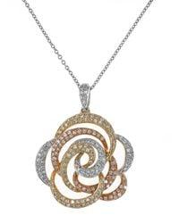 Effy - Metallic Diamond, 14K White, Yellow And Rose Gold Flower Pendant Necklace, 0.68 Tcw - Lyst