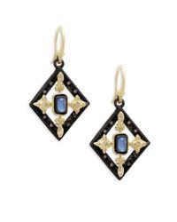 Armenta - Metallic Old World Yellow Gold & Blackened Silver Gemstone Geometric Drop Earrings - Lyst