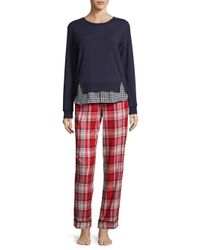Jane And Bleecker - Red Graphic Long Sleeve Pajamas - Lyst
