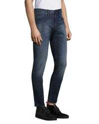BOSS - Blue Solid Cotton Jeans for Men - Lyst