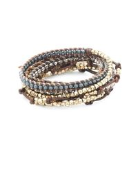 Chan Luu - Metallic Crystal, Sterling Silver And Leather Wrap Bracelet - Lyst