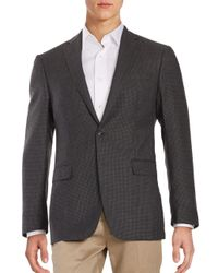 Calvin Klein - Gray Micro Checked Wool Blazer for Men - Lyst