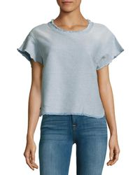 IRO - Blue Florie Faded Fringed Top - Lyst