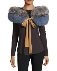 Diane von Furstenberg - Blue Colorblock Dyed Fox Fur Shawl - Lyst