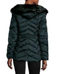 T Tahari - Black Faux Fur Trimmed Puffer Coat - Lyst