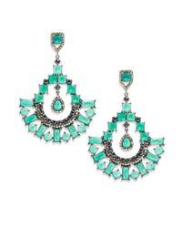 Bavna - Diamond, Green Onyx, Black Spinel & Sterling Silver Earrings - Lyst