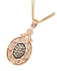 Effy - Metallic Diamond, Espresso Diamond & 14k Rose Gold Pendant Necklace - Lyst