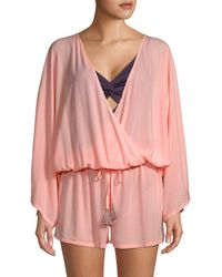 Vince Camuto - Pink Drawstring Coverup Romper - Lyst
