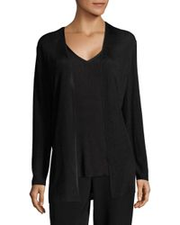 Lafayette 148 New York - Black Ribbed Open-front Cardigan - Lyst
