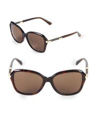 Jimmy Choo - Brown 52mm Square Patterned Temple Sunglasses - Lyst