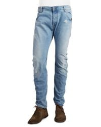 G-Star RAW - Blue Arc 3d Distressed Slim-straight Jeans for Men - Lyst