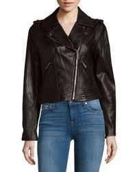 MICHAEL Michael Kors - Black Missy Leather Motor Jacket - Lyst