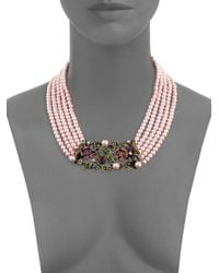 Heidi Daus - Pink Faux Pearl And Swarovski Crystal Garden Multi-strand Necklace - Lyst
