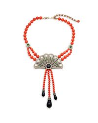 Heidi Daus - Red Crystal Deco Fan Necklace - Lyst