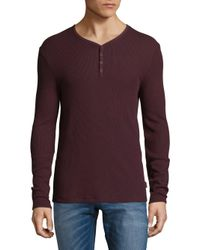 John Varvatos - Purple Waffle V-neck Top for Men - Lyst