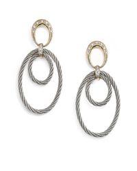 Charriol - Metallic Diamond Stainless Steel 18k Yellow Gold Oval Loop Earrings - Lyst