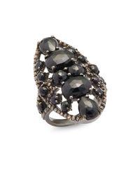 Bavna - Metallic 0.79 Tcw Diamond, Black Spinel & Sterling Silver Ring - Lyst