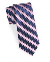 Saks Fifth Avenue - Pink Striped Silk Tie for Men - Lyst
