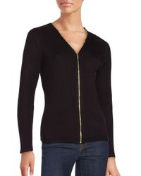 CALVIN KLEIN 205W39NYC - Black Ribbed Knit Zip Cardigan - Lyst