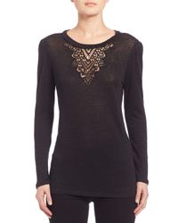 Rebecca Taylor - Black Crochet Lace Inset Top - Lyst