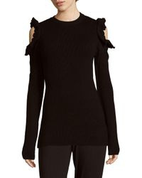 Saks Fifth Avenue - Black Ruffled Cold Shoulder Sweater - Lyst