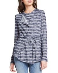 BCBGeneration - Blue Striped Slub-knit Asymmetric Jacket - Lyst
