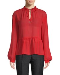 Laundry by Shelli Segal Red Chiffon Tie-front Top