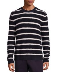 Vince - Blue Textured Striped Crew for Men - Lyst