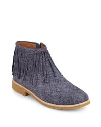 Kate Spade - Blue Betsie Too Fringed Chambray Ankle Boots - Lyst