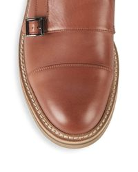 Brunello Cucinelli - Brown Double Monk-strap Leather Cap Toe Oxfords for Men - Lyst