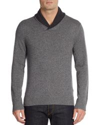 Saks Fifth Avenue | Gray Shawl Collar Cashmere Sweater for Men | Lyst