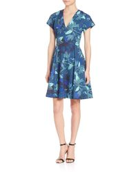 Rebecca Taylor | Blue Tahitian Floral-print Dress | Lyst