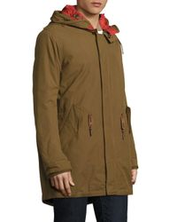 Cole Haan - Multicolor Military Oxford Faux Fur Hooded Parka for Men - Lyst