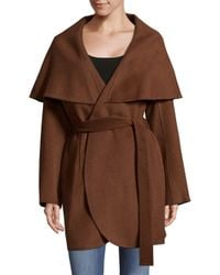 T Tahari - Brown Wool Blend Wrap Coat - Lyst
