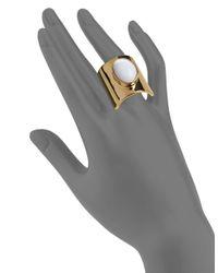 Trina Turk - Metallic White Oval Stone Ring - Lyst